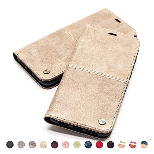 QIOTTI Hülle Kompatibel mit iPhone 6s Plus I iPhone 6 Plus Ledertasche aus Hochwertigem Leder RFID NFC Schutz mit Kartenfach Standfunktion in Sand Braun - Plus Iphone Telefonieren 6