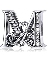 cc1217d74ddb Abalorio de plata de ley 925 con diseño de letra M y ziconia cúbica  transparente compatible