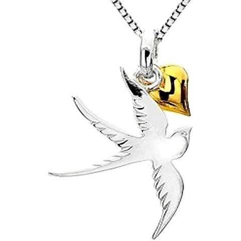 Catenina con pendente a forma di rondine in argento Sterling 925 placcato oro, e pendente a forma di cuore