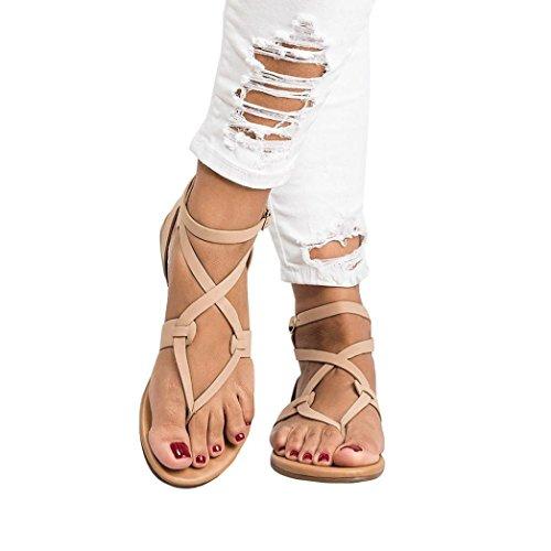 Beikoard promozione della moda sandali donna taco sandali donna estate sandalo incrociato con cinturino alla caviglia (beige, 39)