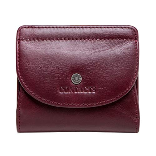 Damen Short Section Wallet Kartenpaket Coin Purse Buckle Leder Clutch (Color : Red, Size : 10 * 2 * 9)