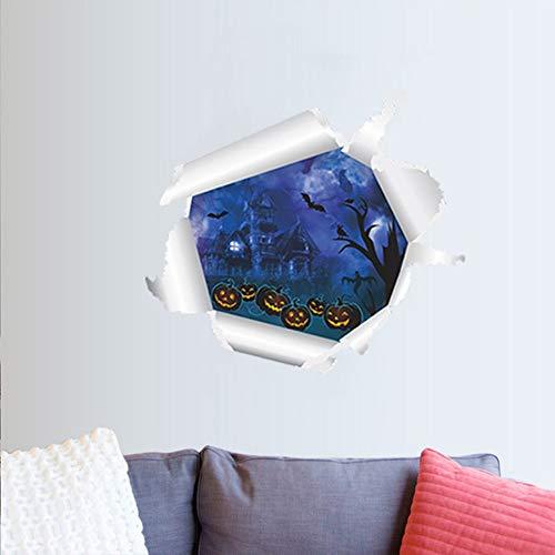 oul Castle 3D Wandaufkleber Pvc für Wohnkultur Hintergrund Dekorative Abziehbilder Poster Kürbis Kopf Aufkleber ()