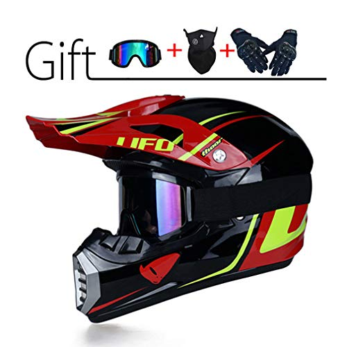 LEENY Casco da Motocross, Casco da Cross Moto con Occhiali Maschera Guanti, Stile UFO Casco Integrale Moto off-Road Sport Downhill Dirt Bike Enduro Racing Casco ATV MTB Quad Casco da Motociclista,A,S