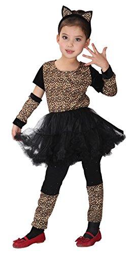 DEMU Mädchen Halloween LeopardKostüm Katzenkostüm Tütü Kinderkostüm M(110-120)