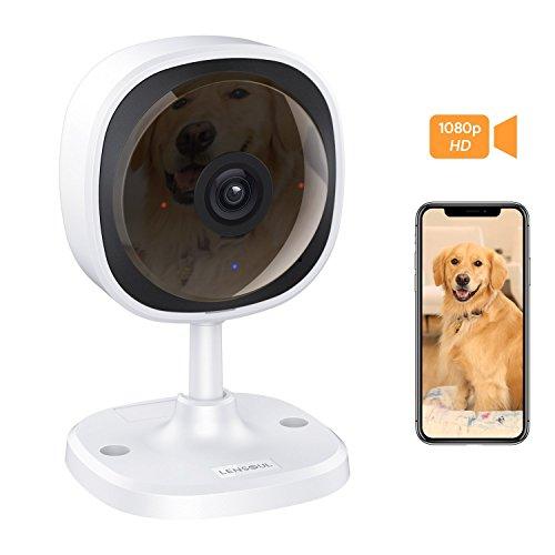 Cámara de Vigilancia,Lensoul 1080P HD Cámara IP WiFi inalámbrica para mascotas Monitor de bebés con vigilancia de audio bidireccional Detección de movimiento Visión nocturna-Servicio en la nube disponible