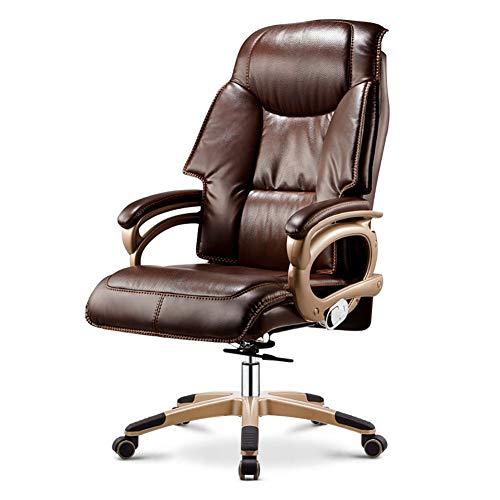 ch-AIR Computer Stuhl Home ergonomischer Bürostuhl Freizeit Liegestuhl aus Leder Höhenverstellbarer Spieldrehstuhl Mit Fußstütze,Braun