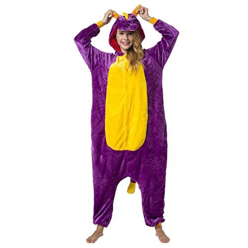 Katara 1744 -Dinosaurier lila/gelbKostüm-Anzug Onesie/Jumpsuit Einteiler Body für Erwachsene Damen Herren als Pyjama oder Schlafanzug Unisex - viele verschiedene Tiere (Einfache Schrank Halloween-kostüme Aus Dem)