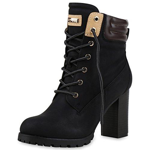 Damen Schuhe Schnürstiefeletten Worker Boots Stiefeletten Block Absatz Schwarz 40 Jennika