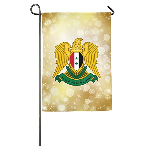 WEERQ Coat of Arms of Syria Floral Garden Yard Banner for Outside House Flower- Best for Party Yard and Home Outdoor Decor -