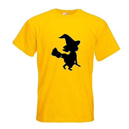KIWISTAR - Hexe auf Besen Halloween Grusel Horror T-Shirt in 15 verschiedenen Farben - Herren Funshirt bedruckt Design Sprüche Spruch Motive Oberteil Baumwolle Print Größe S M L XL XXL Gelb