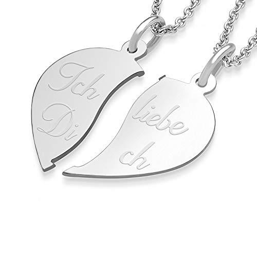 Liebesketten Freundschaftsketten Partnerketten Silber 925 Gravur Herzkette für Paare zwei Teile Love Kette teilbar Pärchen halb Hälfte trennbare zerbrochen zweiteilig doppelt zum Teilen FF79SS92545-4