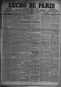 ECHO DE PARIS (L') N? 11458 du 30-12-1915 LA FEDERATION NATIONALE DES MUTILES - NOS DIX-HUIT COMITES REGIONAUX PAR MAURICE BARRES - LES ORPHELINS SERBES A PARIS - COMMUNIQUES OFFICIELS - NOUVEAU SUCCES AU VIEIL-HARMAND PAR MARCEL HUTIN - LES COMPLOTS BOCHES AUX ETATS-UNIS - LA BANQUE NATIONALE BELGE CONDAMNEE A UNE AMENDE DE TROIS MILLIONS - DERAILLEMENT D'UN TRAIN MILITAIRE ALLEMAND - LES PRISONNIERS ALLEMANDS TRAITES COMME LES PRISONNIERS FRANCAIS - HUIT AVIATEURS ALLIES LANCENT DES BOMBES ...
