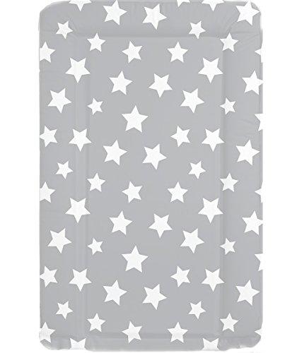 Wickelauflage, wasserdicht, mit erhöhten Seitenrändern, Grau mit weißen Sternen