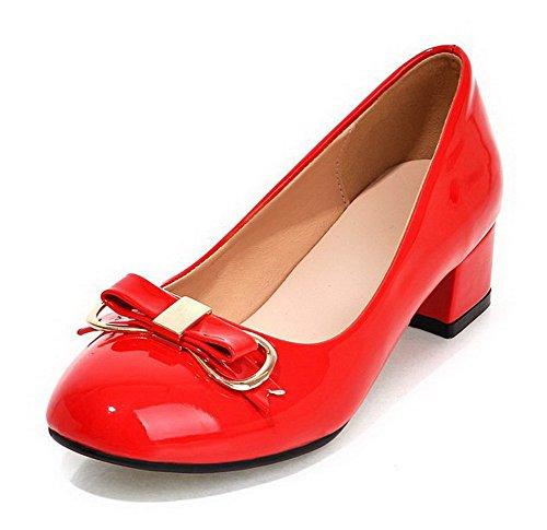 VogueZone009 Femme Mosaïque Pu Cuir à Talon Bas Rond Tire Chaussures Légeres Rouge