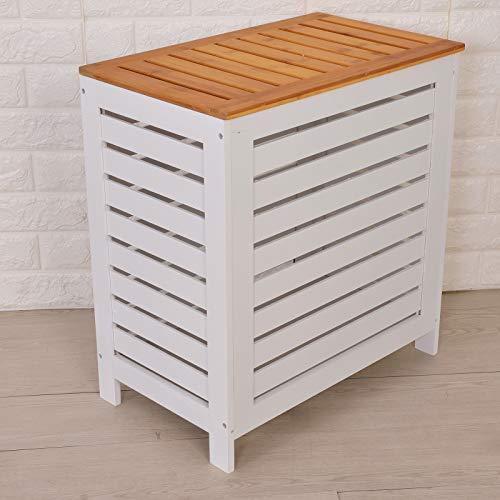 JUEYAN Wäschetruhe Wäschebox Wäschetonne Wäschesammler Wäschekorb mit Deckel Weiß