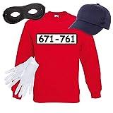 Sweatshirt PANZERKNACKER Set Kostüm mit WUNSCHNUMMER-STANDARDNUMMER Herren und Kinder Verkleidung SET05 Sweater/Cap/Maske/Handschuhe S