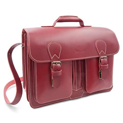 ff15225a58 Cartable cuir rouge femme à 2 soufflets, 40 cm fabriqué en Allemagne,  esprit Vintage