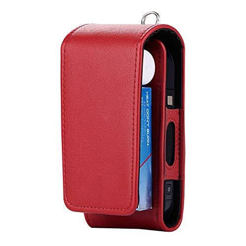 Sigaretta Elettronica Titolare di Protezione Sigaro Cover iQOS Portafoglio Cassa PU Custodia in Pelle per Uomo (Rosso Caldo)