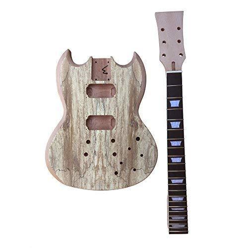 gd515 con tornillo caoba cuello y cuerpo, Spalted Arce REVESTIDO REVESTIDO Top Guitarra Eléctrica Hazlo tú mismo Kit Para Estudiante & Luthier proyectos