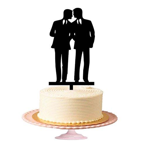 même sexe gâteau gâteau de Gay, Gay Homosexuel gâteau de mariage pour hommes, acrylique pour gâteau en noir brillant