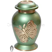 Lite Azul Verde Mariposa Pequeño recuerdo urna, Memorial urna cenizas, Funeral Urnas, cenizas humanos, Mini Urns