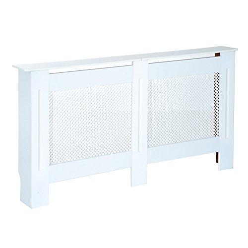 Homcom copritermosifone in legno copertura moderna 151.5 × 82 × 19cm verniciato bianco
