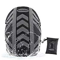 Idefair Backpack Rain Cover,Waterproof Reflective Strip Design with Anti Slip Buckle Strap and Rainproof Storage Pouch for Camping, Hiking, Traveling, Outdoor Activities (M, Black)