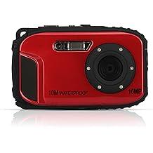 Fotocamera digitale impermeabile, Stoga CGT002 Fotocamera digitale Schermo 2,7 pollici LCD e risoluzione 16MP videocamera impermeabile con zoom e video recorder + Zoom 8x spedizione gratuita-rosso