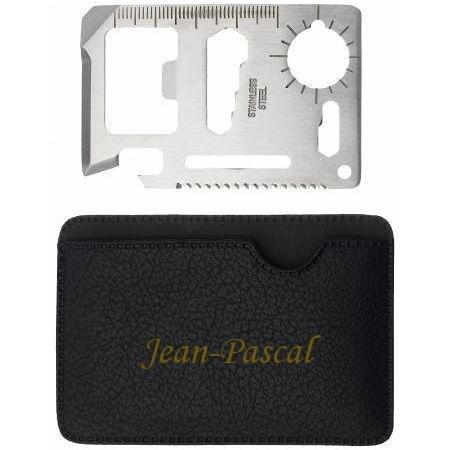Outil de poche de survie avec un tenant engravé avec le prénom: Jean-Pascal (Noms/Prénoms)