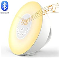 Home-Neat Despertador Reloj Digital con Alarma Luz Nocturna Lámpara LED Wake Up Light con Sonidos Naturales&Radio FM& Bluetooth