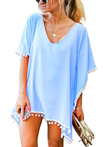 Yuson Girl Beach Cover Ups Badeanzug für Frauen Chiffon Schal Quaste Bikini Cover Up Beach Dress (Blau)