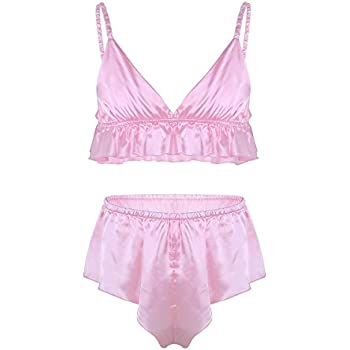5f4d8f0fbe1c CHICTRY Men's Frilly Silky Bra French Knickers Xdress 2 Piece Sissy Lingerie  Set Pink XX-Large
