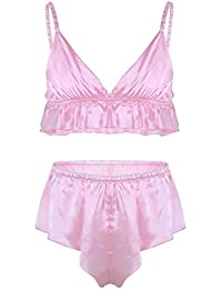 f4640d4a3e6f9 Freebily Men s 2 Piece Lingerie Set Satin Frilly Ruffles Bra Tops Sissy  Pouch Panties Nightwear