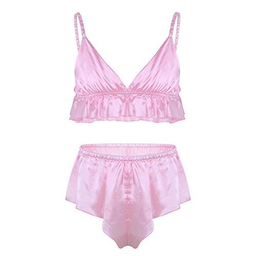 iixpin Herren Satin Bikini Set Erotik Dessous Set Männer Strings Slips Sissy Reizwäsche Unterwäsche Pink Schwarz Partykleidung Clubwear Rosa XXL