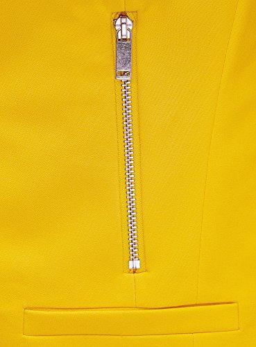 oodji Ultra Femme Veste Coupe Cintrée avec Poches Zippées Jaune (5100N)