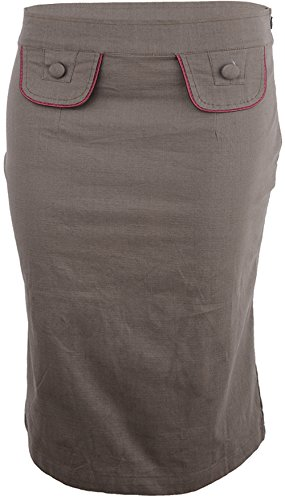 Küstenluder Damen Rock Yanina Uniform Pencil Skirt Braun M (Reißverschluss Vorne Pencil-skirt)