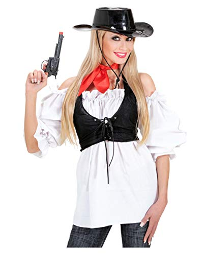 Horror-Shop Weiße Kostümbluse - Schulterfrei im Carmen Look - Kostümzubehör M (Match Cowgirl Kostüm)
