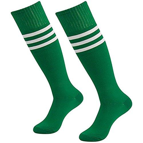 Skyeye Männer Dame Fußball-Socken,Mädchen Strümpfe,Damen Kniestrümpfe,Retro Jungen und Mädchen Sportsocken Zum Kinder,Blau und Rot Streifen Katze Stil (Grün)