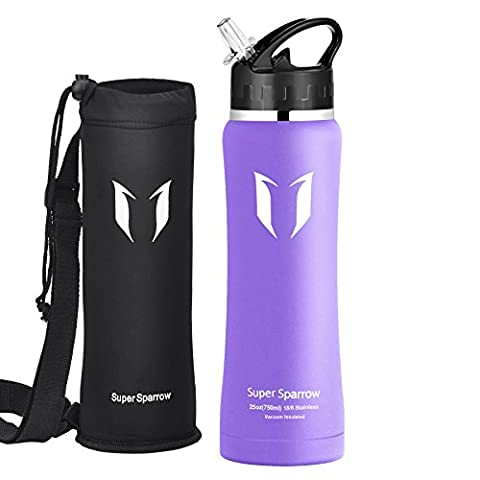 Super Sparrow Insulated Stainless Steel Water Bottle - 750ml - Wide Mouth Large Capacity Double Wall Design With Leak Proof Flip Top Straw Cap - Including Bottle Pouch & Bottle