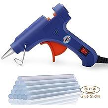GHB Pistolas de Encolar con 30 piezas Barras de Pegamento para Pequeños Proyectos de Bricolaje Empaques Reparaciones Rápidas y Limpias en Casa y Oficina 20W