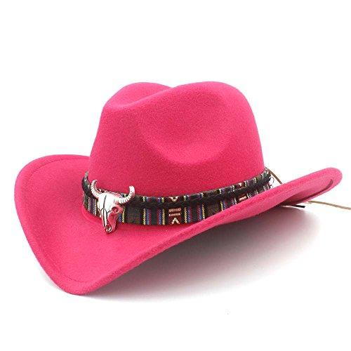 CHENJUAN Sombrero Moda Mujer Hombre Western Cowboy Hat Lady Jazz Vaquera Sombrero Gorras (Color : Rosa roja, tamaño : 56-58cm)