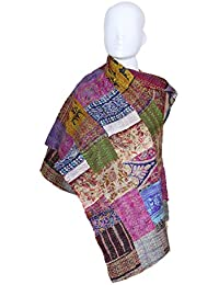 Indistar Vintage Silk Hand Quilted Kantha Hand Work Dupattas Reversible Scarves Scarf Patchwork Multicolor(80200... - B0767MFFQ1