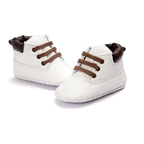 Baby Schuhe Für 0-18 Monate , Auxma Babyjungen weiche lederne Schuhaufladungen Prewalker Schuhe (12(6-12M), Marine) Weiß