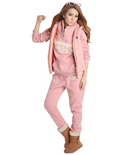 Niseng donna felpa tute felpa con cappuccio cappotto pullover tuta training ispessisce sportivo 3 pezzi hoodie felpa +pantaloni+gilet giacca rosa l