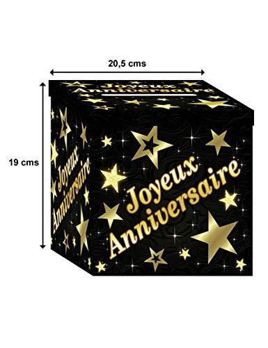 SLA Urne en Carton Joyeux Anniversaire Noir et do