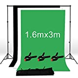 BPS 1.6m x 3m Adjustable Photo Studio Backdrop Screen Support Stand System Kit - 3m x 1.6m Non-Woven Black White Chroma Key Green Backdrop screen + Background Support System + backdrop clamps + Carry bag- For Photography and Portrait