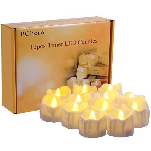 LED Kerzen mit Timerfunktion, 12er-Pack PChero Batteriebetriebene LED-Kerzen, 6 Stunden An und 18 Stunden Aus - [Warmes Weiß]
