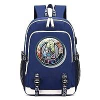Memoryee Unisex School Backpack Avengers Endgame Superhero Printed Rucksack Laptop Backpack Multi-Functional Daypack with USB Charging Port Headset Port and 2 Lines