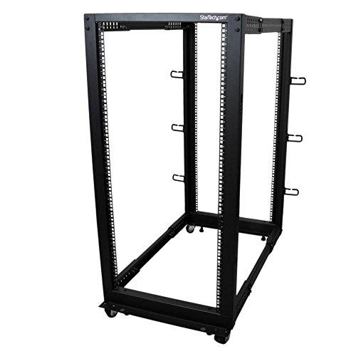 StarTech 25HE 4 Pfosten Open Frame Server Rack / Schrank tiefenverstellbar mit Rollen / Nivellierfüße und Kabelverwaltung