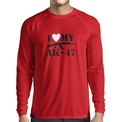 Langarm Herren t shirts Ich liebe meine Ak - 47, russisch machte Aka, Калашников Kalashnikov (X-Large Rot Schwarz)
